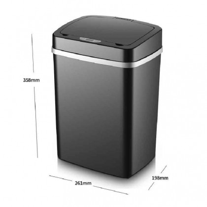 Somax Store !! Home Office Dustbin Automatic Sensor Trash Can Inductive Stainless Steel Garbage Waste Bin Smart Rubbish